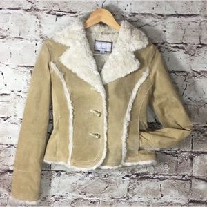 NEVER WORN Wilson Faux Fur & Suede Leather Jacket